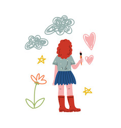 cute girl painting on wall with color paints and vector image