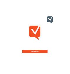 Dialog icon check mark open communication symbol vector
