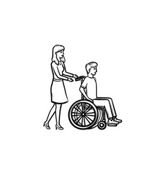 Disable person in wheelchair hand drawn outline vector