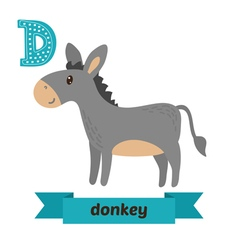 Donkey d letter cute children animal alphabet in vector