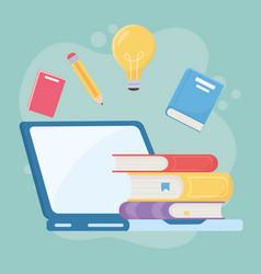 Education online laptop computer books pencil vector