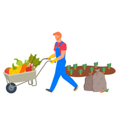 Farmer pushing cart loaded with vegetables vector