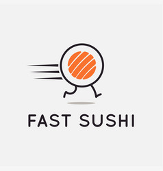 fast sushi logo running sushi roll on background vector image