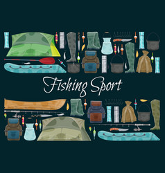 Fishing sport banner with fisher equipment border vector