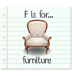 Flashcard letter F is for furniture vector