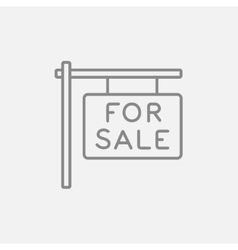 For sale placard line icon vector image