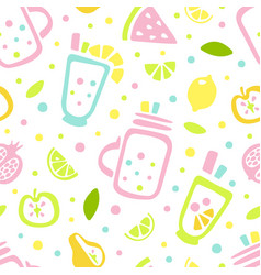 fresh juice and tropical fruits seamless pattern vector image