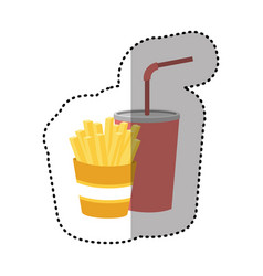 Fries french and soda icon vector
