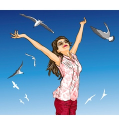 Girl Enjoying Life vector image