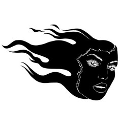 girl face on fire black silhouette tattoo logo vector image