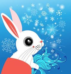 Graphic funny rabbit winter on a blue background vector