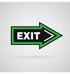 Green and black colored arrow with exit message vector