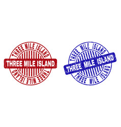 Grunge three mile island scratched round stamps vector