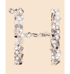 H school alphabet letter vector