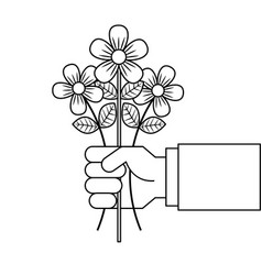 Hand holding bunch flower natural decoration vector