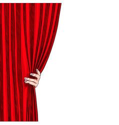 hand opening red folded curtain white background vector image
