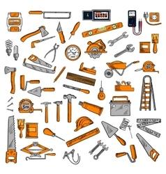 Hand tools and equipments sketch symbols vector image