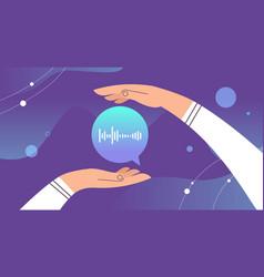Hands holding audio voice message speech audio vector