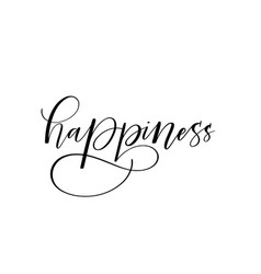 happiness brush calligraphy design vector image