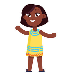 Happy little afro-american girl in yellow dress vector