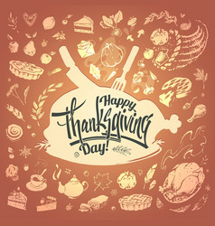 happy thanksgiving card with hand drawn food icons vector image