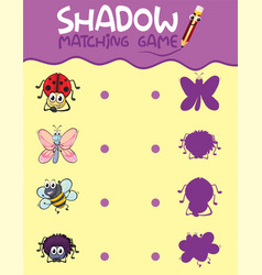 Insect shadow matching game template vector