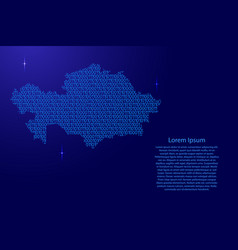 Kazakhstan map abstract schematic from blue ones vector