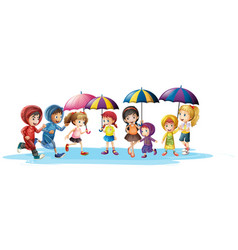 kids in raincoats and umbrella vector image