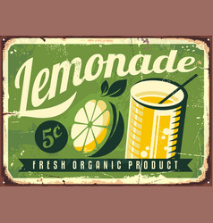lemonade vintage tin sign vector image vector image