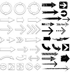 Lots black arrows set vector