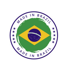 made in brazil round label vector image