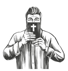 man protects his face with bible salvation vector image