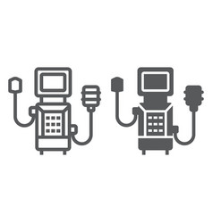 Medical ventilator line and glyph icon breathing vector