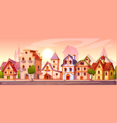 medieval town street with old european buildings vector image