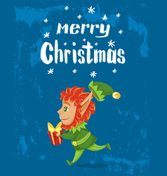 merry christmas elf with gift greet with holiday vector image