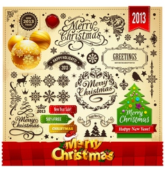 Merry Christmas Vintage elements vector