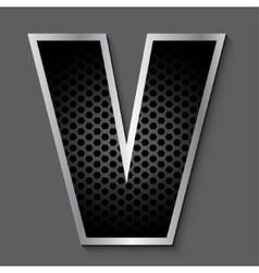 Metal grid font - letter V vector
