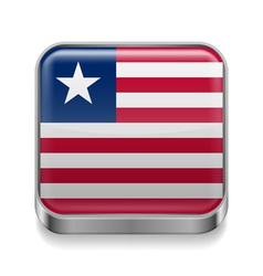 Metal icon of liberia vector