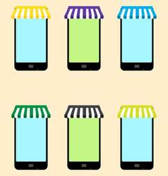 Mobile store set vector image