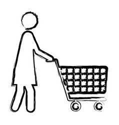 monochrome blurred silhouette of pictogram woman vector image