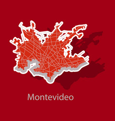 Montevideo sticker map outline version ready vector