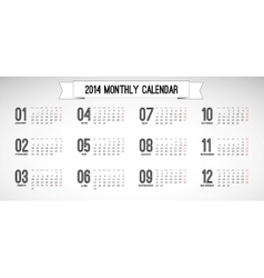Monthly calendar vintage vector image