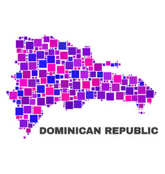 mosaic dominican republic map of square elements vector image