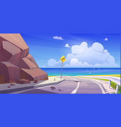 mountain asphalt road with seaview empty highway vector image