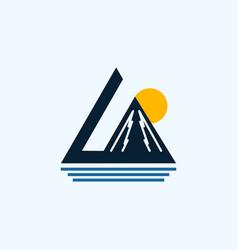 Mountain sunrise pacific creative business logo vector