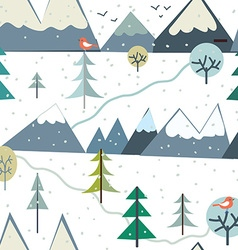 Mountains at winter season seamless pattern vector