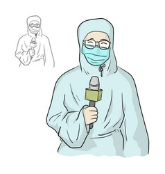News reporter with ppe suit in live broadcasting vector