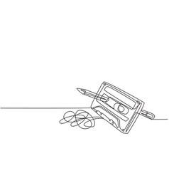 one single line drawing tangled analog vector image