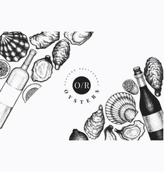 oysters and wine design template hand drawn vector image