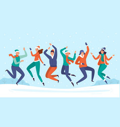 people jump in snow group friends enjoy vector image